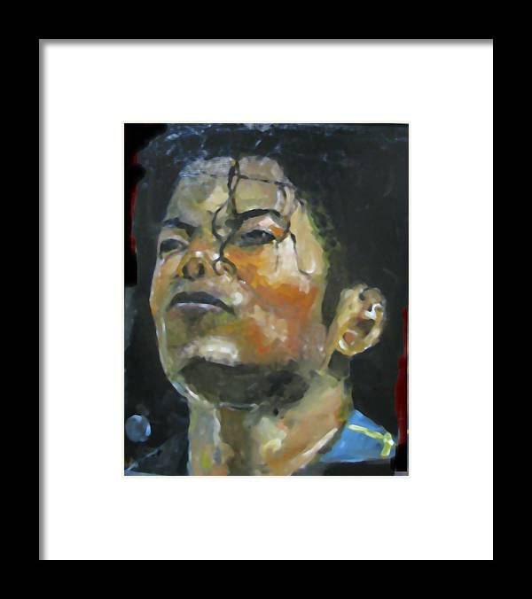 Music Framed Print featuring the painting Michael Jackson by Udi Peled