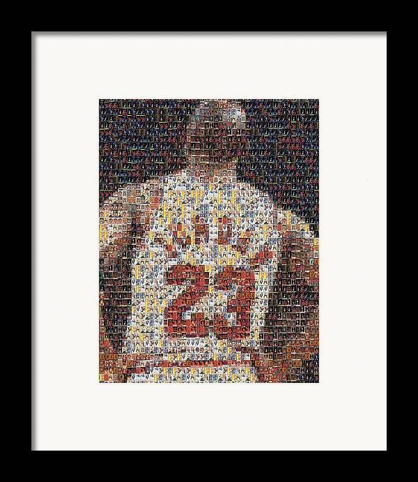 Michael Jordan Framed Print featuring the mixed media Michael Jordan Card Mosaic 2 by Paul Van Scott