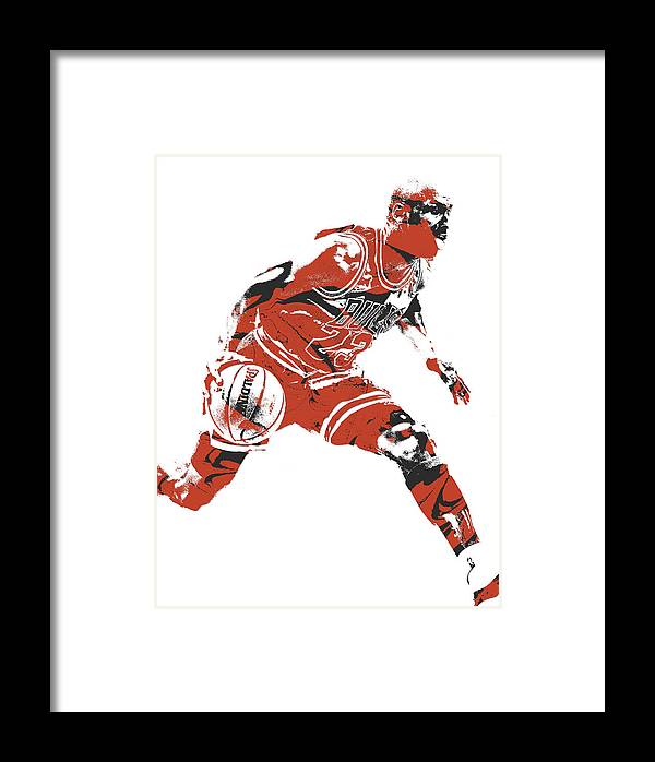 Michael Jordan Chicago Bulls Pixel Art 10 Framed Print by Joe Hamilton