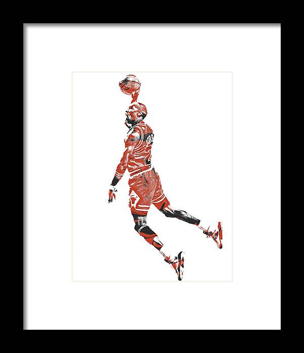 Michael Jordan Chicago Bulls Pixel Art 11 Framed Print by Joe Hamilton