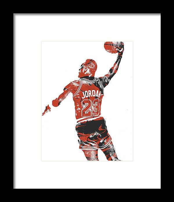 Michael Jordan Chicago Bulls Pixel Art 16 Framed Print by Joe Hamilton