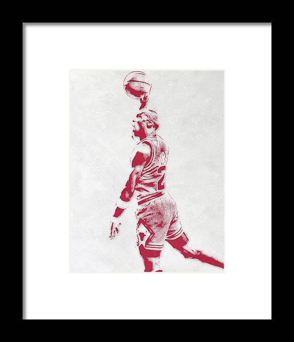Michael Jordan Chicago Bulls Pixel Art 3 Framed Print by Joe Hamilton