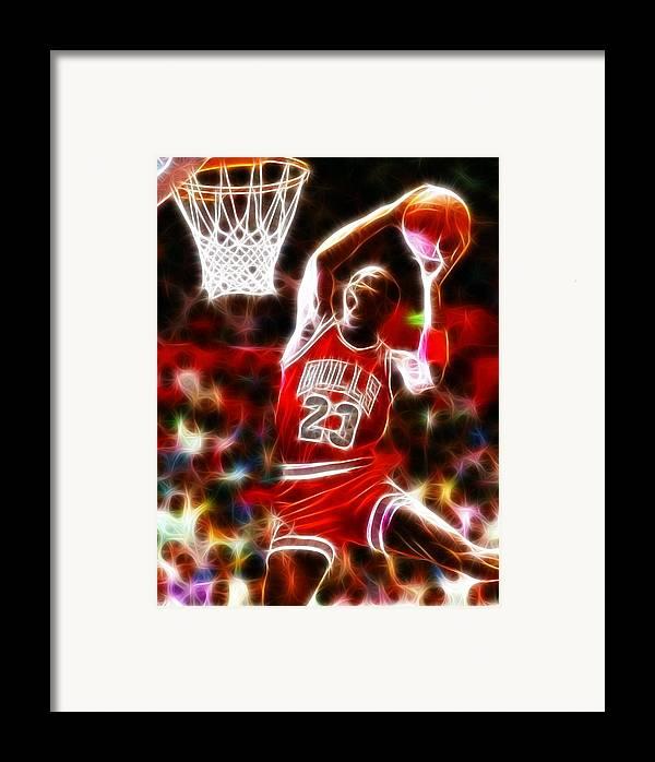 Mj Framed Print featuring the digital art Michael Jordan Magical Dunk by Paul Van Scott