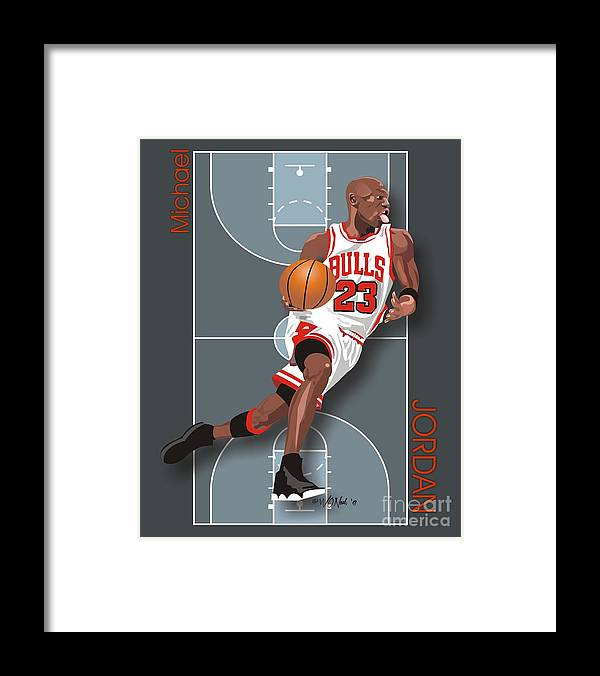 Portraits Framed Print featuring the digital art Michael Jordan, No. 23 by Walter Oliver Neal