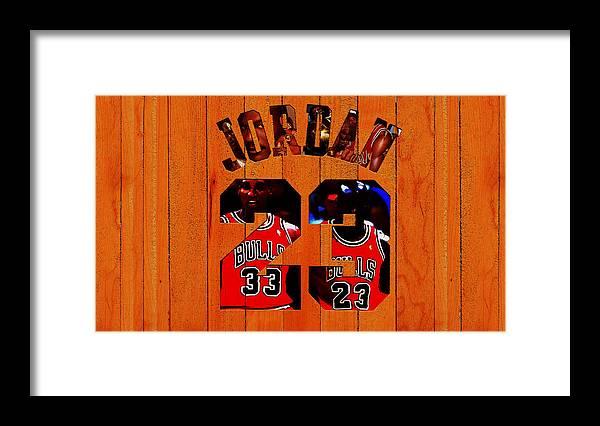 Michael Jordan Framed Print featuring the mixed media Michael Jordan Wood Art 1b by Brian Reaves