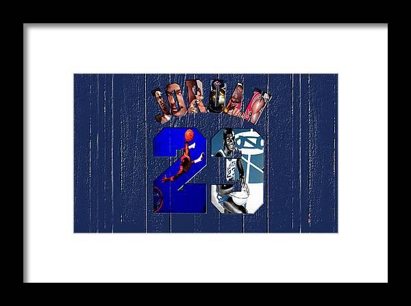 Michael Jordan Framed Print featuring the mixed media Michael Jordan Wood Art 2c by Brian Reaves