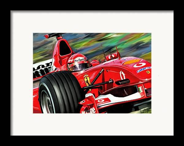 Michael Schumacher Framed Print featuring the digital art Michael Schumacher Ferrari by David Kyte