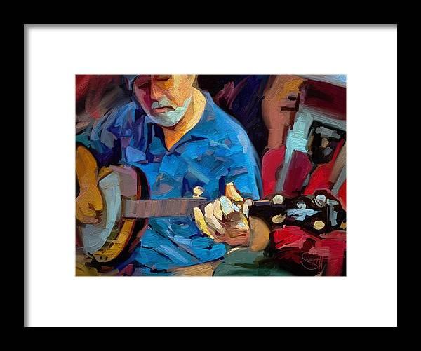 Mike Banjo Music Musician Art Scott Waters Framed Print featuring the digital art Michael by Scott Waters