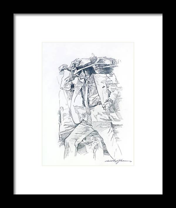 Michael Jackson Framed Print featuring the drawing Michael Smooth Criminal II by David Lloyd Glover