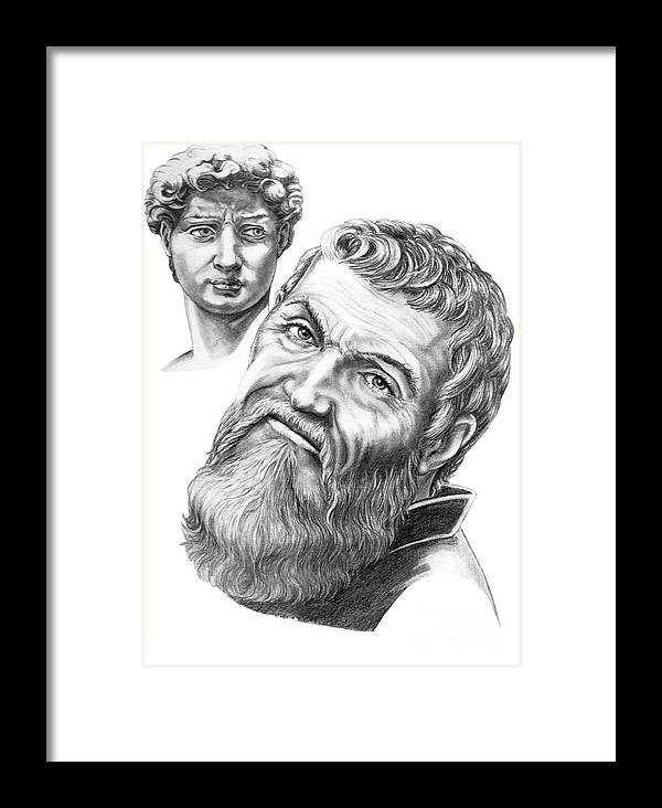Michelangelo Framed Print featuring the drawing Michelangelo And David by Murphy Elliott