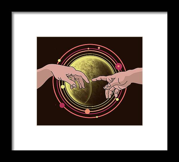 Space Framed Print featuring the digital art Michelangelo Space by Mark Ashkenazi
