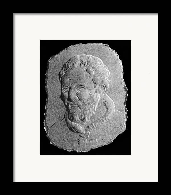 Portrait Framed Print featuring the relief Michelangelo by Suhas Tavkar