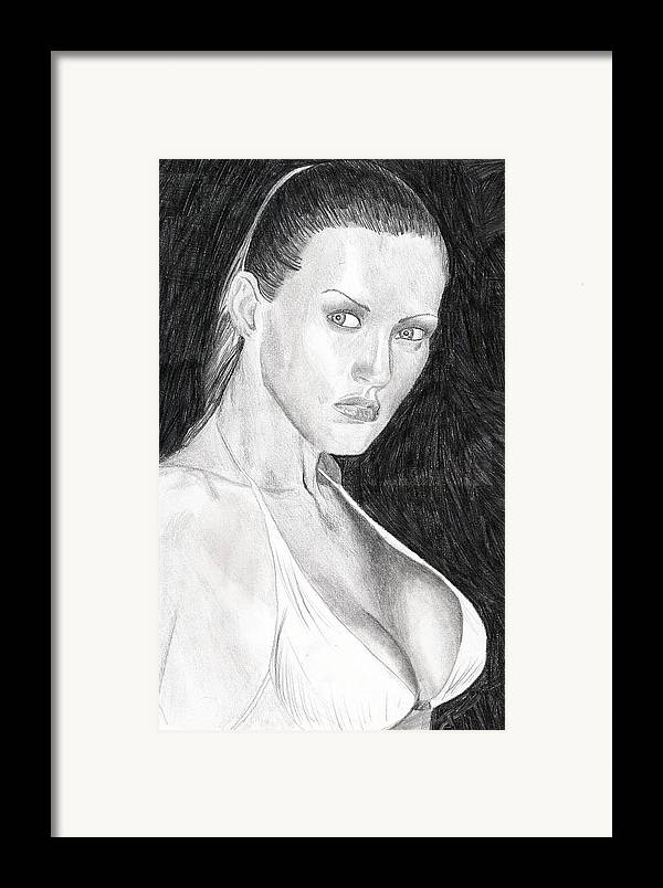 Nude Drawings Drawings Framed Print featuring the drawing Michelle by Michael McKenzie