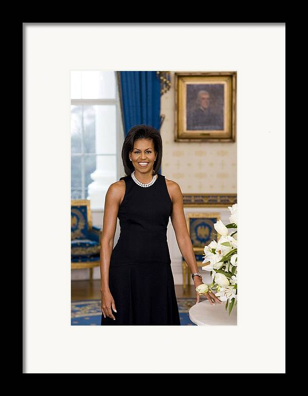 History Framed Print featuring the photograph Michelle Obama 1964-, In Her Official by Everett