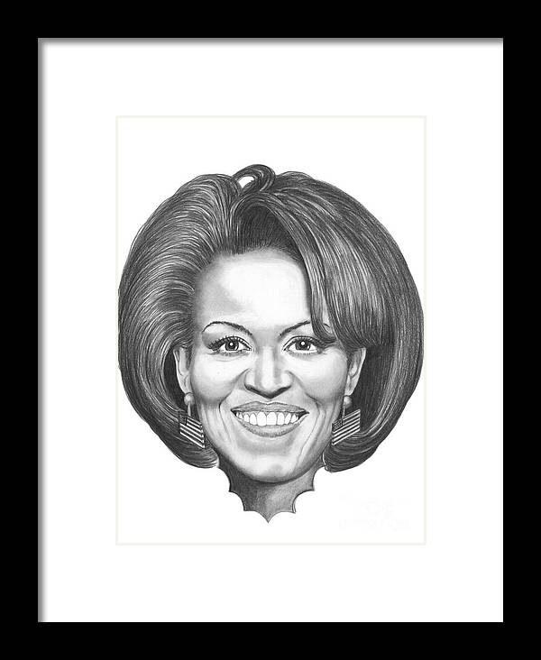 Drawing Framed Print featuring the drawing Michelle Obama by Murphy Elliott