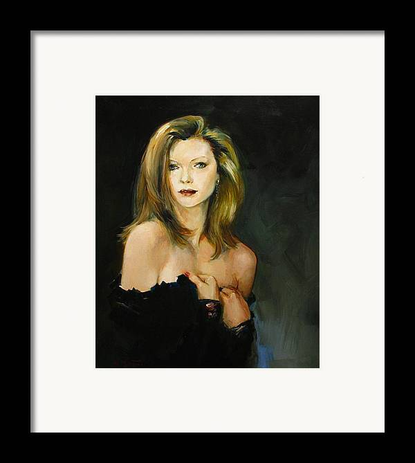Michelle Framed Print featuring the painting Michelle Pfeiffer by Tigran Ghulyan