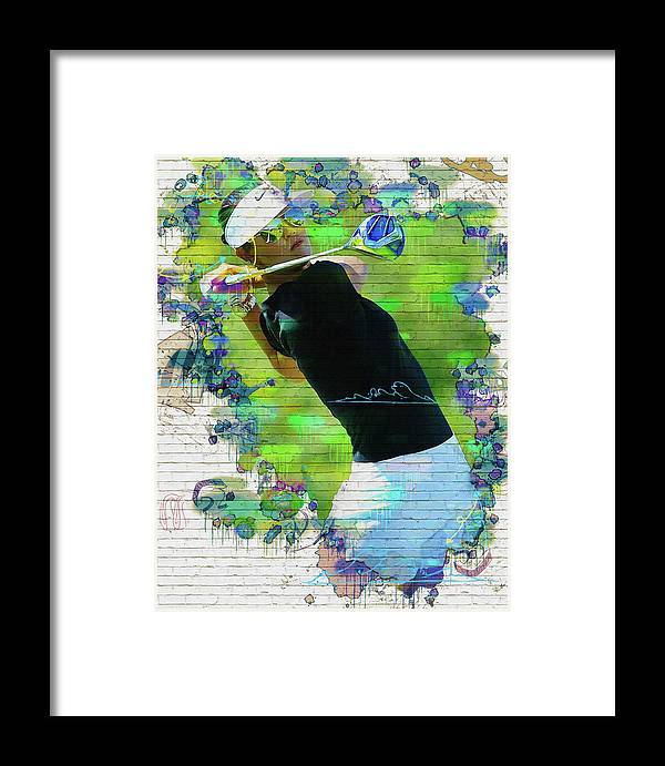 Home Framed Print featuring the digital art Michelle Wie Street Art by Don Kuing