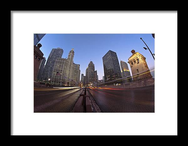 Framed Print featuring the photograph Michgan Avenue Action by Sven Brogren