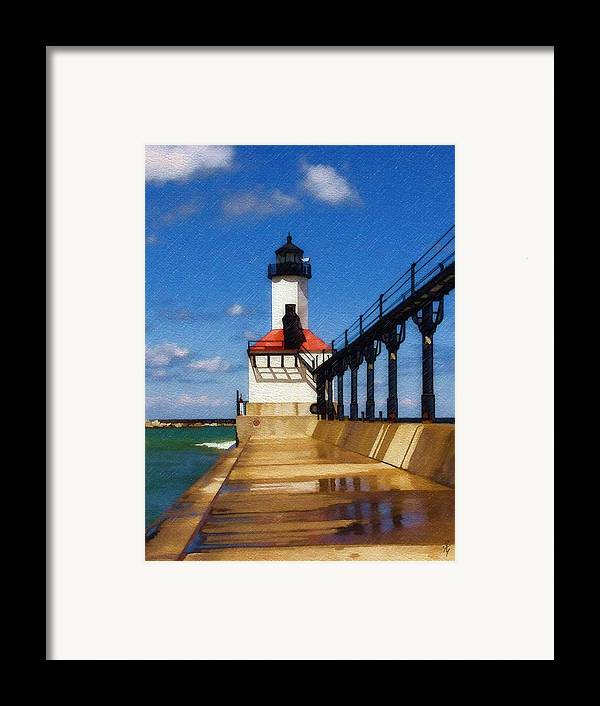 Lighthouse Framed Print featuring the photograph Michigan City Light 1 by Sandy MacGowan