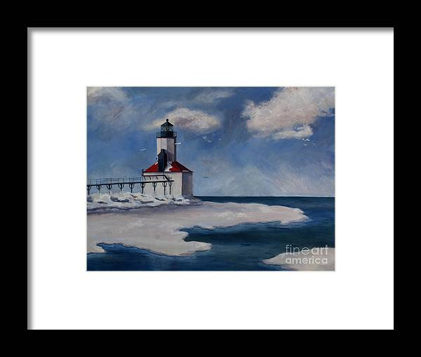 Lighthouse Framed Print featuring the painting Michigan City Light by Brenda Thour