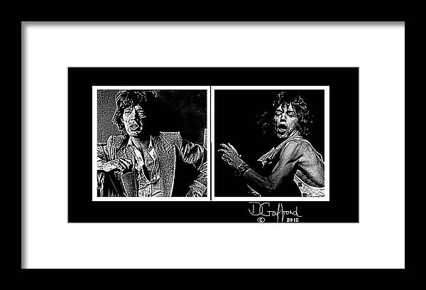mick Jagger rock Music rock Singer rock Music Legend rolling Stones rock Musician Framed Print featuring the painting Mick Jagger by Dave Gafford
