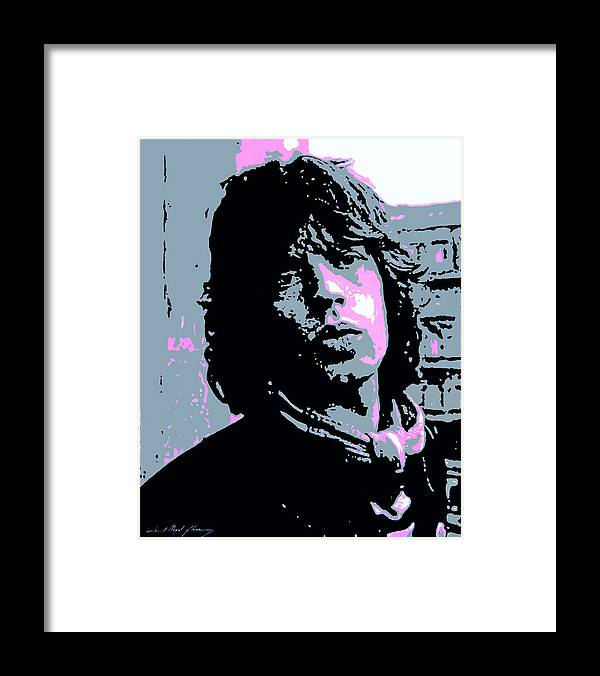 Mick Jagger Framed Print featuring the painting Mick Jagger in London by David Lloyd Glover