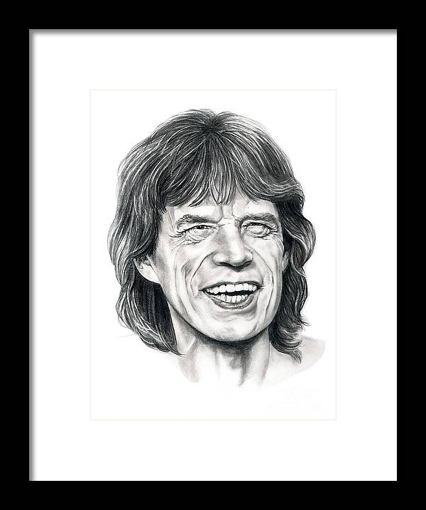 Mick Jagger Framed Print featuring the drawing Mick Jagger by Murphy Elliott