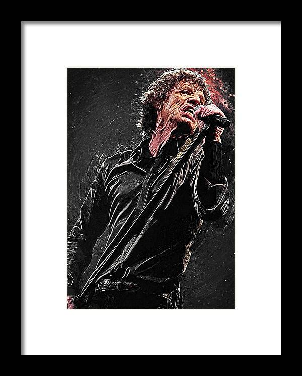 Mick Jagger Framed Print featuring the digital art Mick Jagger by Zapista OU