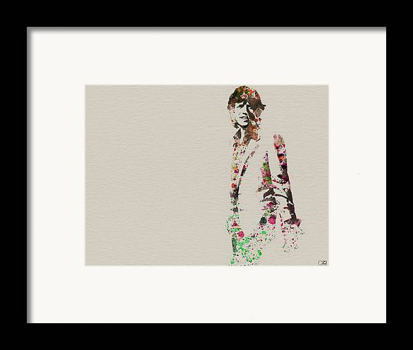 Mick Jagger Framed Print featuring the painting Mick Jagger Watercolor by Naxart Studio