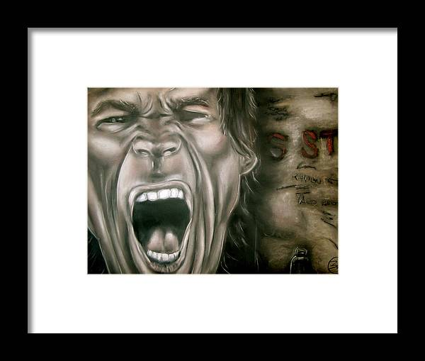 Mick Framed Print featuring the drawing Mick Jagger by Zach Zwagil