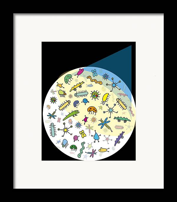 Microbe Framed Print featuring the photograph Microbes by David Nicholls