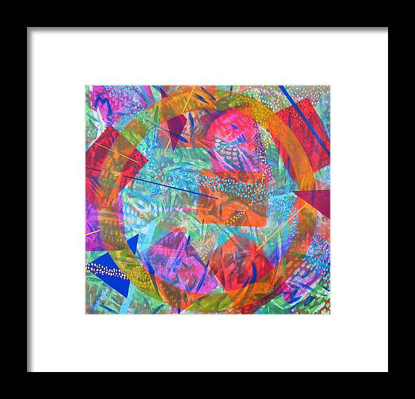 Abstract Framed Print featuring the painting Microcosm IV by Rollin Kocsis