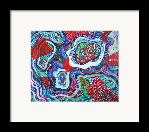 Abstract Framed Print featuring the painting Microcosm Ix by Rollin Kocsis