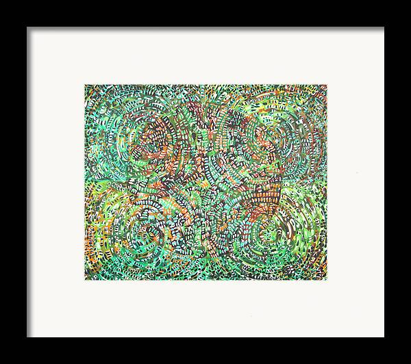 Non-objective Framed Print featuring the painting Microcosm Xi by Rollin Kocsis