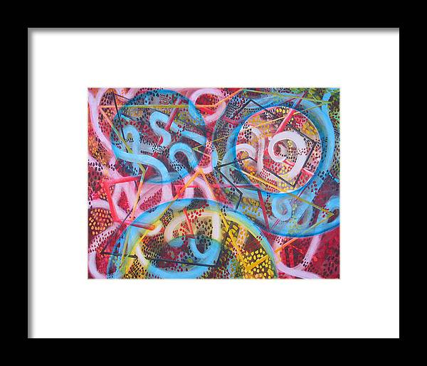 Abstract Framed Print featuring the painting Microcosm Xii by Rollin Kocsis