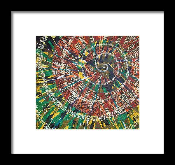 Non-representational Framed Print featuring the painting Microcosm Xiv by Rollin Kocsis