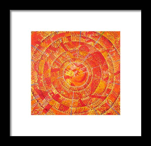 Abstract Framed Print featuring the painting Microcosm Xix by Rollin Kocsis