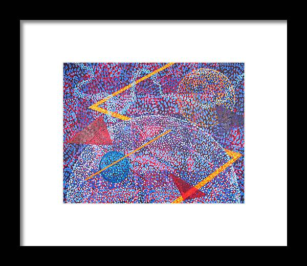 Abstract Framed Print featuring the painting Microcosm Xv by Rollin Kocsis