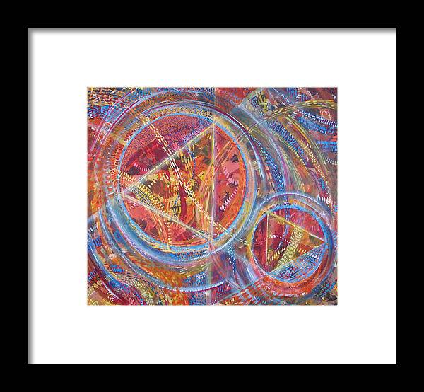 Geometric Framed Print featuring the painting Microcosm XVI by Rollin Kocsis