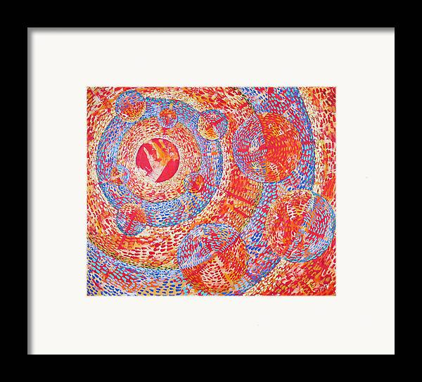 Pointillism Framed Print featuring the painting Microcosm Xviii by Rollin Kocsis