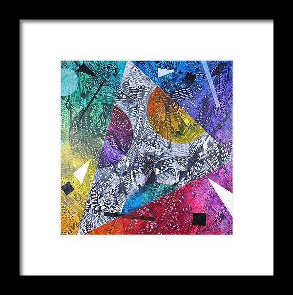 Geometric Framed Print featuring the painting Microcosm Xx by Rollin Kocsis