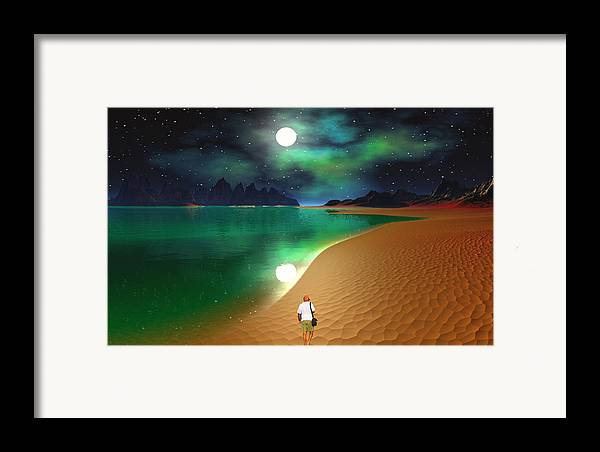 David Jackson Midnight Beach Walk - Sea Of Cortezz Alien Landscape Planets Scifi Framed Print featuring the digital art Midnight Beach Walk - Sea Of Cortezz by David Jackson