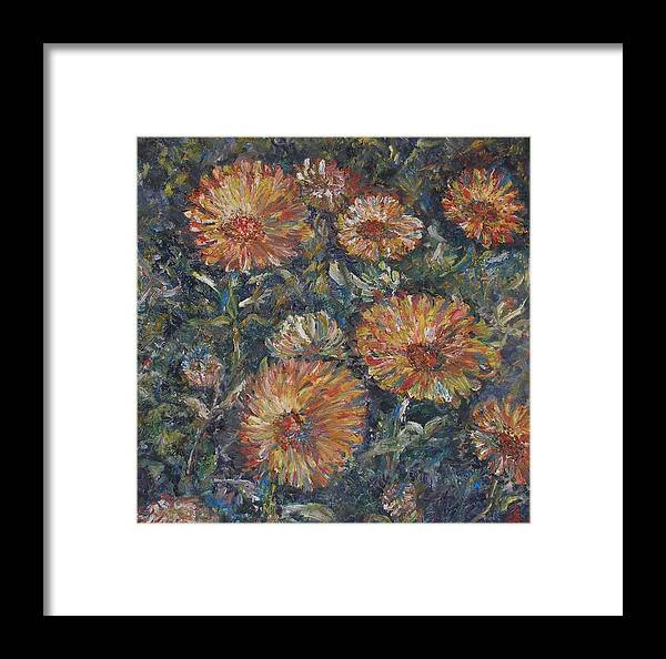 Flowers Framed Print featuring the painting Midnight Bloom by Wendy Chua