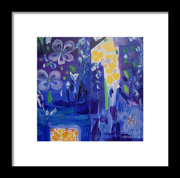 Blue Flowers Framed Print featuring the painting Midnight Blue by Geraldine Liquidano