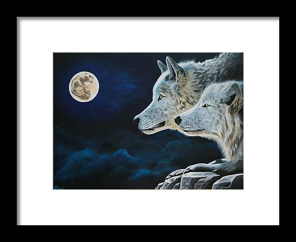 Wolves Framed Print featuring the painting Midnight Calling by Patti Richardson