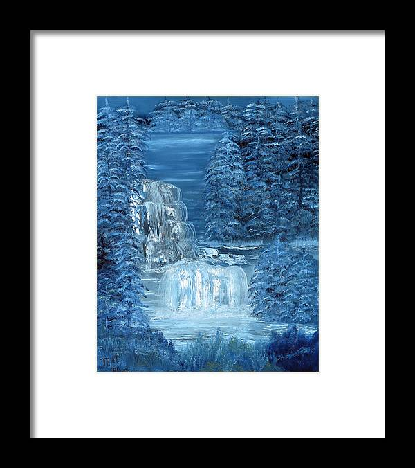 Waterfall Framed Print featuring the painting Midnight Falls by Mikki Alhart