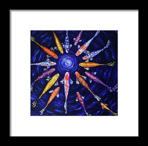 Koi Framed Print featuring the painting Midnight Gathering by Elizabeth Cox