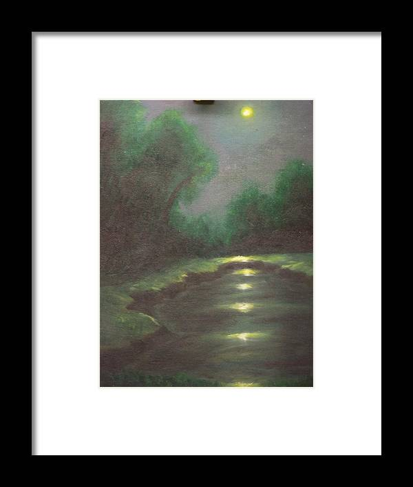Landscape Framed Print featuring the painting Midnight Hour by Charles Vaughn