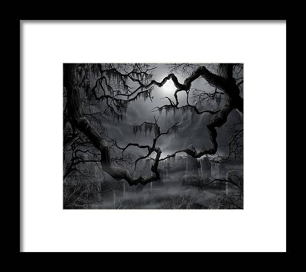 Ghosts Framed Print featuring the painting Midnight in the Graveyard II by James Christopher Hill