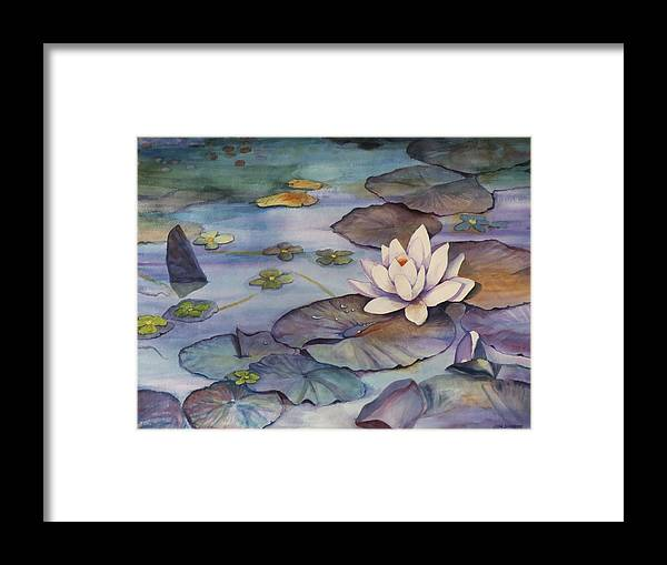 Lily Framed Print featuring the painting Midnight Lily by Jun Jamosmos